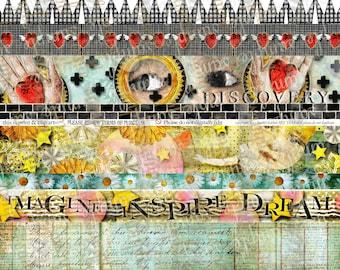 ART TEA LIFE Imagine Dream Inspire Strips Borders Collage Sheet Digital File band trim tag invitation journal decoupage scrapbook download