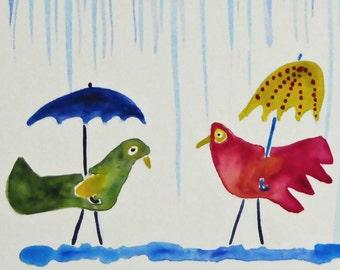 Birds in the Rain- Original Watercolor Painting