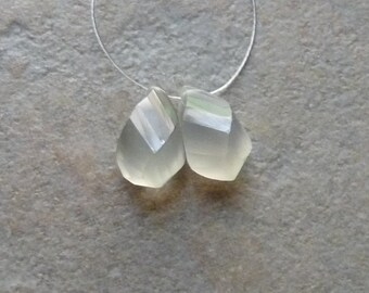 SALE - AAA Grey Moonstone Faceted Twisted Tear Drops Briolettes - 7x12mm - PAIR