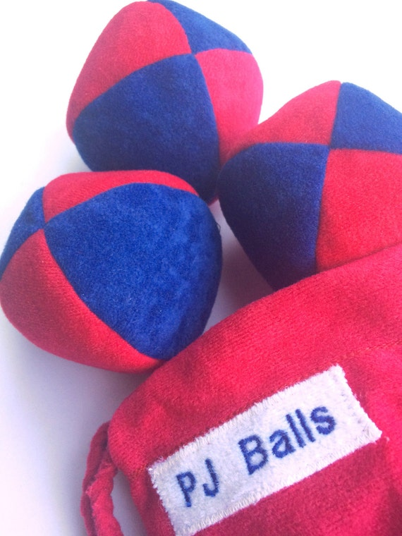 105g - 3 Soft JUGGLING BALLS With Bag - Dark Blue and Red