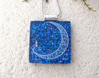 Holiday Necklace, Dichroic Jewelry,Candle Moon Necklace, Blue Necklace, Fused Glass Jewelry, Holiday Pendant,ccvalenzo, 070517p102