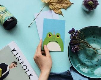Unicorn Frog postcard, 4.1''x5.8''