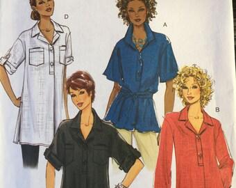 Butterick B5218 women's pullover tops tunics collar variations size BB uncut