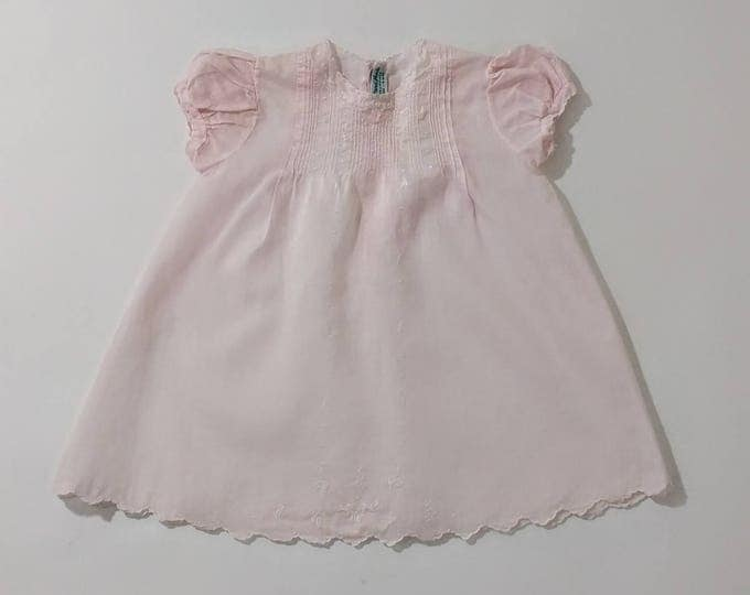 Vintage Pink Batiste Heirloom Baby Dress with Pintucks & Delicate Embroidery, Matching Slip, Handmade in the Philippines, Size 3 - 6 Months