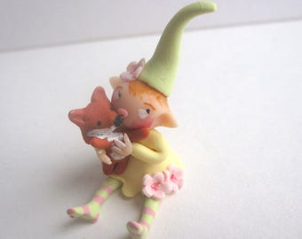 Little flower pixie with fox