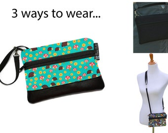Cell Phone Purse - Fanny Pack or Wristlet - Cell phone Cross body Bag - Small Cross body Purse - Long Zip Bag- Hedgehog Fabric