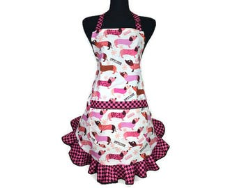 Dachshund Apron for women with Frilly Pink and Brown Check Ruffle , Retro Kitchen Decor / Wiener Dog Apron / Adjustable with Pocket