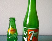 Vintage 7-up bottle and Small Squirt Bottle