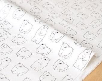 Japanese Fabric Shy Polar Bear - white - fat quarter