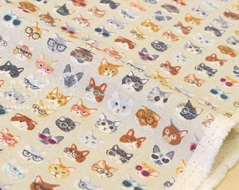 Japanese Fabric Kokka Animal World - cats - beige grey - 50cm