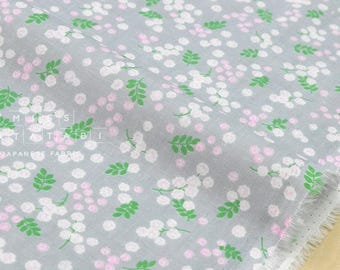 Japanese Fabric double gauze mimosa flowers - grey, pink, green - 50cm