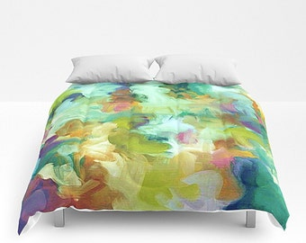 Art Bedding, Queen Comforter, Modern Bedding, Modern Bed Cover, King Comforter, Blue And Green, Watercolor Bedding, Queen Bed Cover