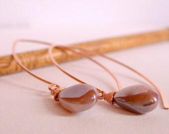 Curving Silverite Drop Earrings. Rose Gold Threader Earrings. Rose Gold Open Hoop Earrings. Mod Hoops. Modern Open Hoops.