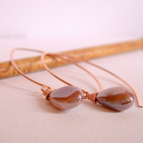 Curving Silverite Drop Earrings. Rose Gold Threader Earrings. Rose Gold Open Hoop Earrings. Mod Hoops. Modern Open Hoops.
