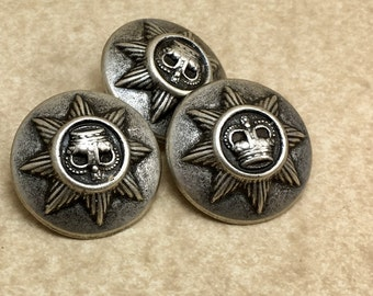 7/8  Domed Shank  Antique Silver Star  Owl Crown Button  6008  A6