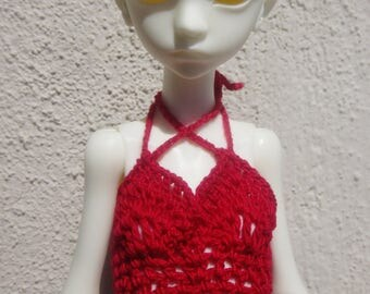 Handmade OOAK Blood Halter Top for Doll Chateau Kid dolly