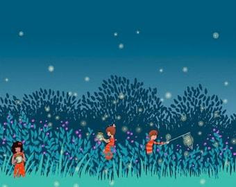 Michael Miller SUMMER NIGHT LIGHTS Twilight cotton fabric 1/2 yard