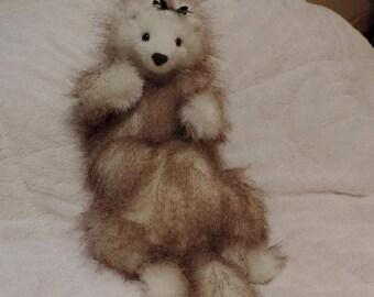 ferret,angora ferret,plush ferret,handmade ferret,ferret toy,collectable ferret