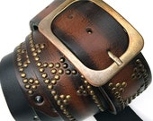 Rich Brown and Black Leather Guitar Strap with Antique Brass Studs and Buckle, Eco-Friendly Recycled Belts, Unisex, Unique, OOAK