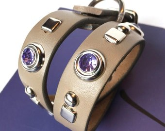 Small Dog Collar Taupe Gray Leather with Purple Rhinestones and Geometric Studs, Size S to fit a 10-13 Neck, Small Leather Dog Collar, OOAK