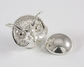 Owl Lapel Pin, Sterling Silver