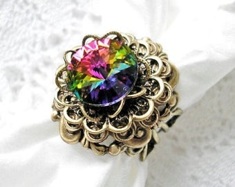 Swarovski Vitrail Rivoli Ring Antiqued Brass Ox Filigree Ring Victorian Style Ring