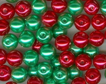 8mm Pearl Beads Set 100 8mm Red and Green Christmas Glass Pearls Round Spacer Bead Spacers