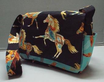 Crossbody Bag or Purse, Shoulder Carry Handbag, Horsefeathers Fabric