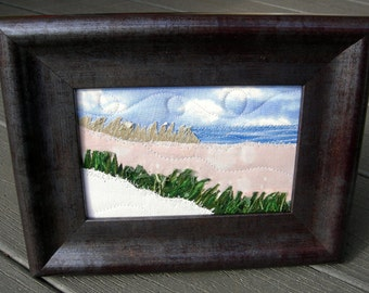 Beach Quilted Postcard,Landscape Postcard,Fiber Art,Fabric Postcard, Landscape Art, Greeting Cards,  Spring and Summer Vacation, Ocean
