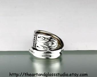 Silver Spoon Ring DANISH PRINCESS Jewelry Vintage, Silverware, Gift, Anniversary, Wedding, Birthday AF839