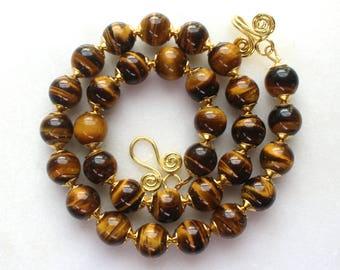 Stunning Tigers Eye, 22kg Vermeil, Byzantine Inspired Fine Gemstone Necklace...