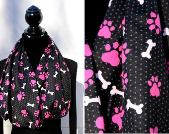 Cotton Flannel Infinity Scarf - Dog Paw Print - Soft Scarf for Dog Lovers - Womens Scarf - Winter Fashion