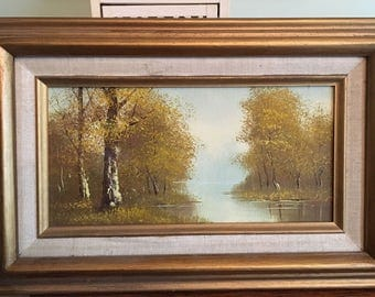 Vintage Scenic Painting Gold Frame 17 x 11 by Williams 1970s epsteam Blue Brown