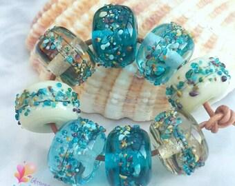 Lampwork Beads Beachcomber, Beach, Organic, Nature, Blue, Ocean, seaside, brown, neutral