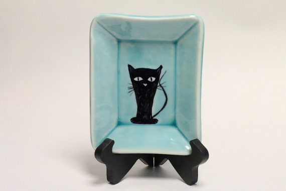 "Small cat plate in Aqua  5 3/4 x 4 3/4"" SHIPS PRIORITY for the holidays"