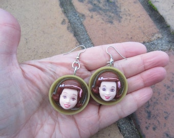 Pretty Polly Pockets - upcycled doll face earrings