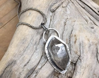 Natural Double Terminated Tibetan Quartz Pendant on Sterling Silver Chain - Artisan Made