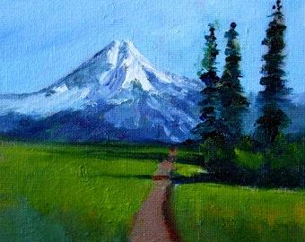Northwest Landscape, Oil Painting, Original 6x6, Canvas Wall Decor, Blue Green, Mt. Baker, Washington State, Meadow Field, Trees, Trail