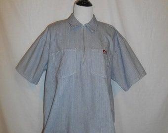 Closing Shop Sale 40% Off Ben Davis Monkey Brand Front Zip Collar Blue White Stripe Shirt Mens
