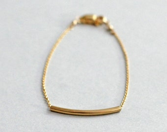 Curved Gold Bar Bracelet, Sliding Bar Bracelet, 14K Gold Fill Modern Dainty Jewelry