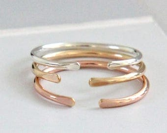 Open Cuff Ring, Sterling Silver, Gold, Rose Gold Ring, Smooth Shiny Stacking Ring, Thumb Ring, Silver or Gold Knuckle Ring, Adjustable Ring