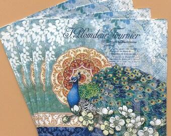 PN065 Set of 4 Paper Napkins by Punch Studio ~ 5 x 5 or 4.5 x 8 - Goregous Art Nouveau Peacock, French Collage Fleur-de-lis, Flowers