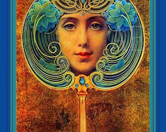 PR-127 Artistic Ephemera Print ~ One 8x10 or Two 5x7s ~ Louis Welden Hawkins - Teal Art Deco Mask