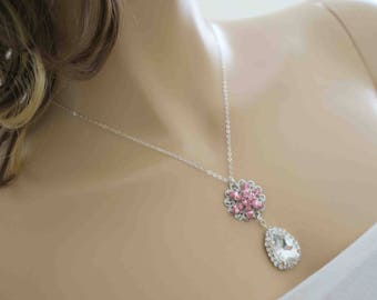 Pink Crystal Necklace Blush Pink Vintage Rose Bridesmaid Necklace Bright Pink Wedding Jewelry French Rose Flower Clear Drop Rhinestone