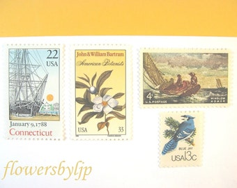 Gold and Blue Postage, Vintage Sailing - White Flower - Bird Stamps, Mail 20 Nautical Wedding Invitations, 2018 rate 71 cents postage 2 oz