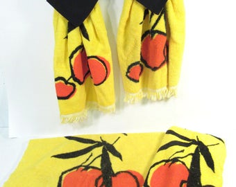 Vintage kitchen towels, fruit towels, cherry towels, orange cherries, yellow and black kitchen decor, hanging towels, set of 4, terry cloth