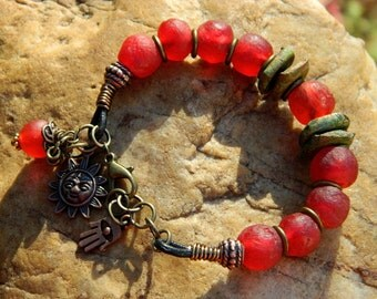 Red Recycled Glass Bead Bracelet