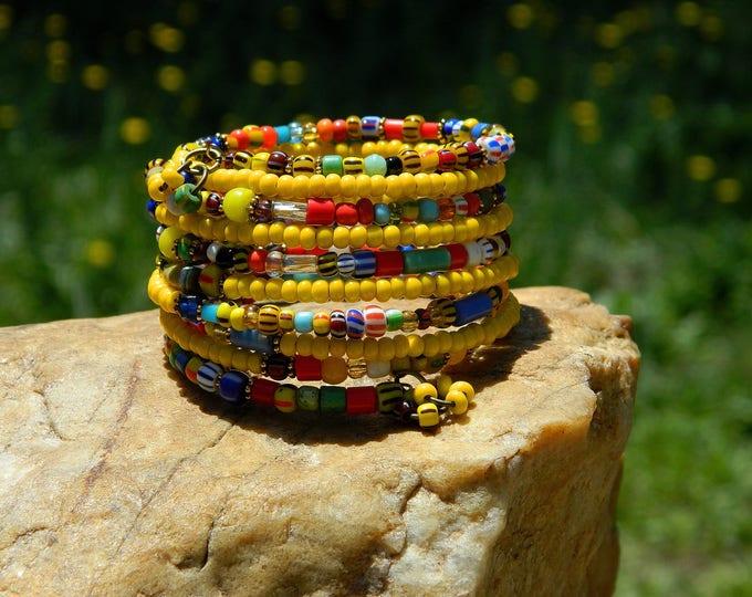 Featured listing image: African Christmas Beads Boho Bangle