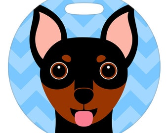 Luggage Tag - Miniature Pinscher Tan - Round Plastic Bag Tag