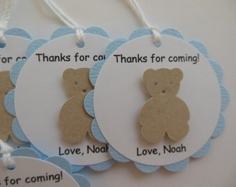 Teddy Bear Party Favor Tags - Thanks for Coming - Brown, Blue and White - Boy Birthday Party - Boy Baby Shower - Set of 6